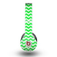 The Green & White Chevron Pattern Skin for the Beats by Dre Original Solo-Solo HD Headphones