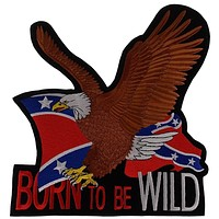 Rebel Confederate Flag Eagle Patch Born To Be Wild Embroidered Rider Jacket Vest Motorcycle