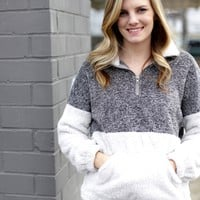 Two Tone Fuzzy Pullover, Charcoal/Grey