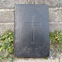 Antique religious Missale Romanum leather bound book - dated 1935 - antique and vintage Catholic bible interest - vintage leather book