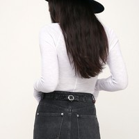 Rugged A-Line Washed Black Denim Mini Skirt