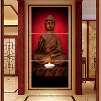 3 Piece Canvas Art Modern Printed Buddha Painting Picture Decoracion Buddha Paintings Wall Canvas Pictures For Living Room