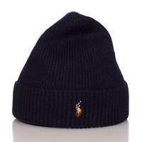 SIGNATURE MERINO CUFF WINTER BEANIE - Navy - POLO