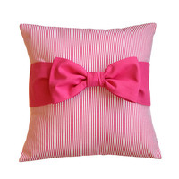 """Easter Sale! Pink Pillow Cover with bow, 18"""" x 18"""""""