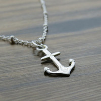 CLEARANCE - Sterling silver anchor necklace pendant on beaded chain - SALE