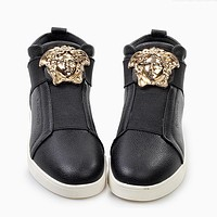 Versace Fashion Women Men Personality High Help Low Help Sneakers Running Sports Shoes Black High Help