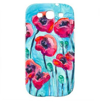 Samsung Galaxy S 3 Case - Poppy Sky - Floral Watercolor Painting - Brazen Art Designer Cell Phone Cover