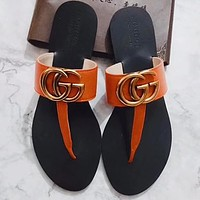 Gucci Double G Bronze Metal Word Slippers Shoes Orange