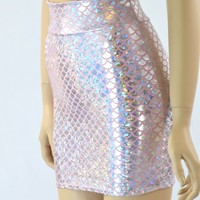Silver & Pink Mermaid Scale Bodycon Mini Skirt