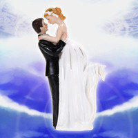 New Bride Groom Couple Dancing Resin Figurine Wedding Cake Decoration (Size: 1, Color: White) = 1929417732