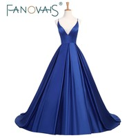 2018 couture Simple Royal Blue Prom Dresses A Line Satin Spaghetti Evening Gowns Backless Sexy formal party Dress vestido festa
