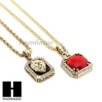 """MENS RED RUBY / LION PENDANT 24"""" 30"""" ROPE CUBAN CHAIN NECKLACE SET S35"""