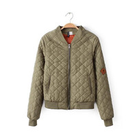 Women Jacket Army Green Bomber Jacket