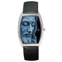 Jesus (Blue Stone Statue Face) on a Womens or Mans Barrel Watch with Leather ...