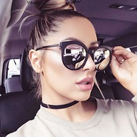 2017 Vintage Round Sunglasses Women Reflective Cat Eyes Sunglasses Female Women's Shades Brand Designer lunette de soleil UV400