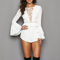adelyn white bell-sleeve romper