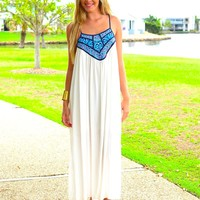 White Sleeveless Maxi Dress with Blue Panel Print Neckline