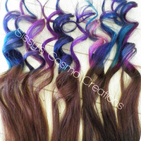 "12"" Purple Pink Teal Indigo Blue Brown Ombre Dip Dye Clip In Human Hair Extensions"