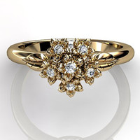 14k yellow gold diamond flower bouquet unusual unique floral engagement ring, bridal ring, wedding ring ER-1037-2