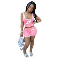 Women's Nike Casual Print Letter Vest Shorts Set