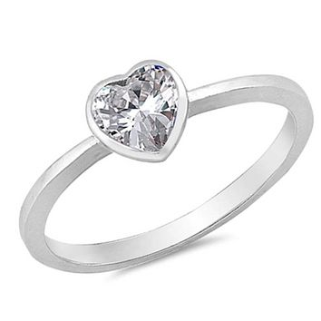 Sterling Silver 1 Carat Heart Cubic Zirconia Bezel Solitaire Engagement Ring