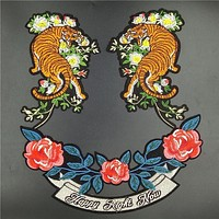 Quality Large Embroidered Patch Iron on with glue,Tiger,Flower, Text Fashion 2017 for T-shirt