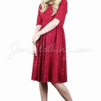 Haley Modest Bridesmaid Dress in Berry Red Lace | Modest Homecoming Dress in Red