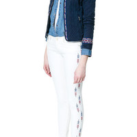 TWILL TROUSERS WITH EMBROIDERY AT THE SIDES - Trousers - TRF - ZARA United States