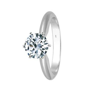 3/4 Carat GIA Certified 14K White Gold 6-Prong Round Cut Solitaire Diamond Engagement Ring (0.75 Carat D-E Color VS1-VS2 Clarity)