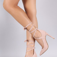 Pointy Toe Lace Up Pump