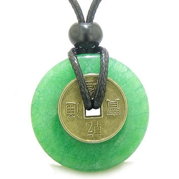 Antique Lucky Coin Good Luck Powers Amulet Green Quartz 30mm Donut Pendant Necklace