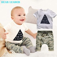Bear Leader 2016 kids boys summer style infant clothes baby clothing sets boy Cotton little monsters short sleeve 2pcs baby