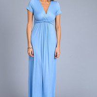 Solid Short Sleeve Maxi Dress - Light Blue