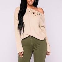 Emma Rose Lace Up Sweater - Oatmeal