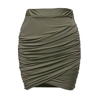 Zeagoo Women Wrap Runched Stretch Draped Mini Pleated Bodycon Pencil Skirt