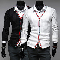 Color Trim Design Fashion Men Cardigan