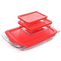 6 Piece Glass Bakeware Food Storage Set With Red Plastic Lids