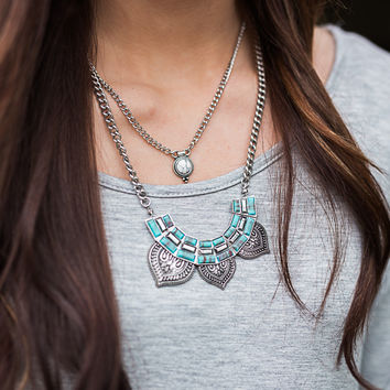 Necklace - Ornamental Petal 2 Layer- Silver & Turquoise