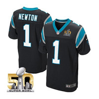 Cam Newton #1 Carolina Panthers Super Bowl 50 Bound Elite Black Jersey