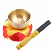 Buddhism Tibetan Singing Bowl Cushion Wood Stick Tibetan Bowl Buddhism Meditation Brass Vintage Home Decorative