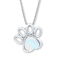 Paw Print Necklace Lab-Created Opal Sterling Silver