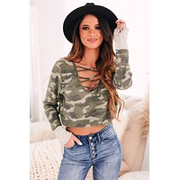 Hide Out Waffle Knit Camo Top (Army Green/Charcoal)