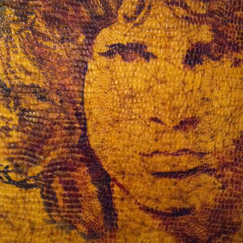 Original Pop Art Painting - Jim Morrison of The Doors - The Lizard King - Faux Snake Skin on Canvas - Hand Painted - Unique Acrylic Painting