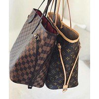 LV Louis Vuitton Women Shopping Leather Tote Handbag Shoulder Bag Purse Wallet Set Two-Piece-2
