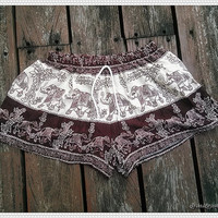 Elephant Shorts Art Printed For Beach Summer Hippie Comfy Exotic Boho Clothing Aztec Ethnic Bohemian Ikat Boxers Pants from Thailand