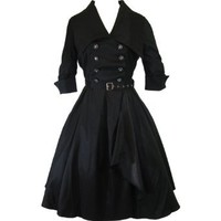 60's Vintage Style Rockabilly Gothic Steampunk Black Belted Military Swing Dress