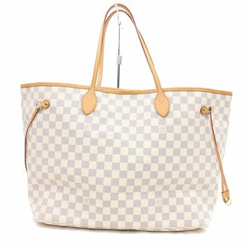 Authentic Louis Vuitton Tote Bag Neverfull GM N51108 Whites Damier Azul 205143