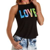 Black Love Graphic Racer Front Tank Top by Charlotte Russe