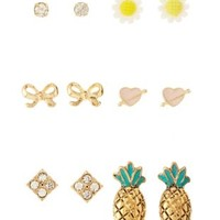 Gold Pineapple & Daisy Stud Earrings - 6 Pack by Charlotte Russe