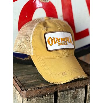 Olympia Beer Ivory Patch Hat - Distressed Ginger Snapback
